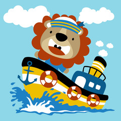 Sailing with lion cartoon. Eps 10