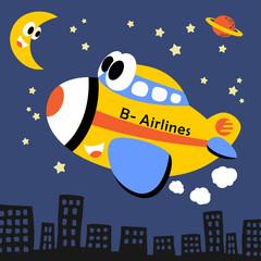 Funny plane cartoon at night. Eps 10