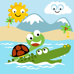 Crocodile and turtle cartoon at summer. Eps 10
