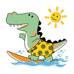 Dino surfer cartoon. Eps 10