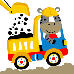 Zebra on truck cartoon. Eps 10