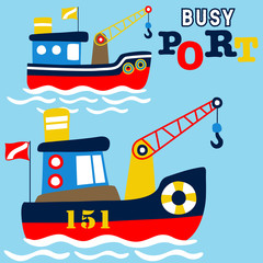 fishing boats cartoon in the port. Eps 10