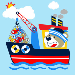 Cartoon of fishing boat with happy captain. Eps 10