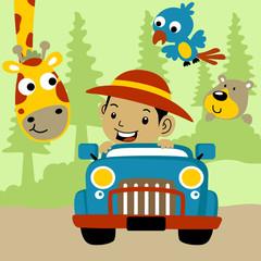 Safari tour cartoon. Eps 10