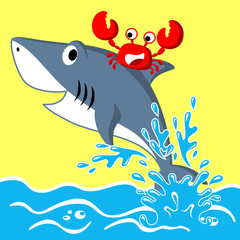 Nice shark and crab cartoon. Eps 10