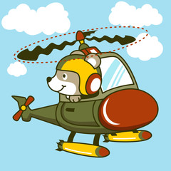 Helicopter cartoon with funny pilot. Eps 10
