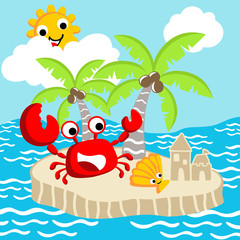 Crab and shellfish cartoon in the little island. Eps 10