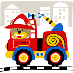 Fire truck cartoon with funny fireman. Eps 10