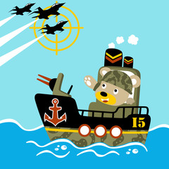 Gunboat cartoon with funny soldier. Eps 10