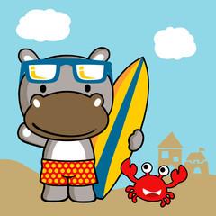 Animals surfer cartoon. Eps 10