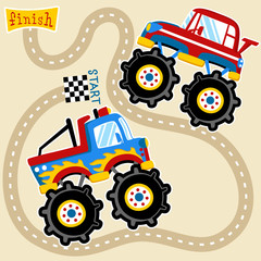 Monster truck racing cartoon. Eps 10
