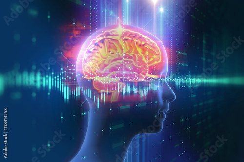 Wall mural 3d rendering of human  brain on technology background