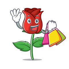 Shopping red rose character cartoon