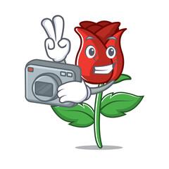 Photographer red rose mascot cartoon