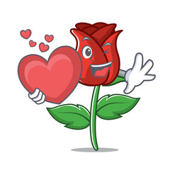 With heart red rose mascot cartoon