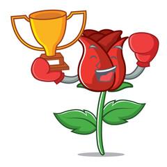 Boxing winner red rose mascot cartoon