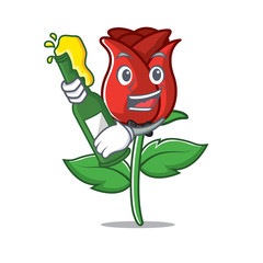 With beer red rose mascot cartoon