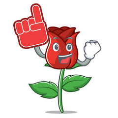 Foam finger red rose mascot cartoon