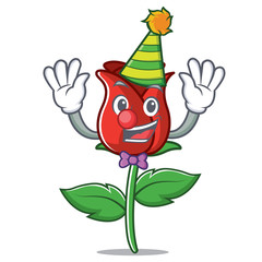 Clown red rose mascot cartoon