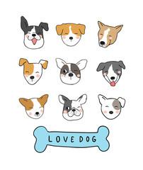Vector illustration set  design different emotion face of adorable dog Draw doodle style