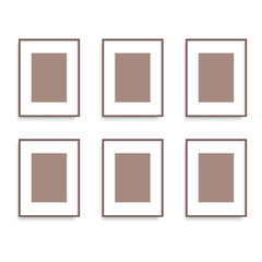 Set of brown photo frames on the wall. Vector.