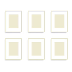 Set of yellow photo frames on the wall. Vector.