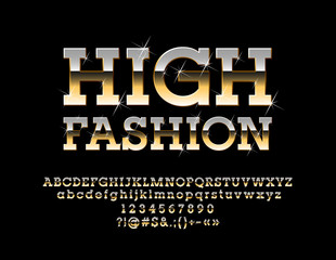 Vector Glamour Golden Sign High Fashion. Elegant glossy Font with Bright Stars. Luxury Alphabet Letters, Numbers and Symbols