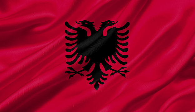 Albania flag waving with the wind, 3D illustration.