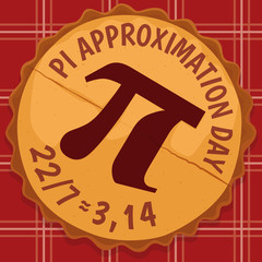 Delicious Pie with Pi Symbol for Pi Approximation Day, Vector Illustration