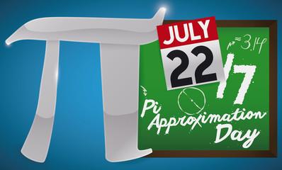 Silver Pi Symbol, Chalkboard and Calendar for Pi Approximation Day, Vector Illustration