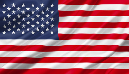 United States flag waving with the wind, 3D illustration.