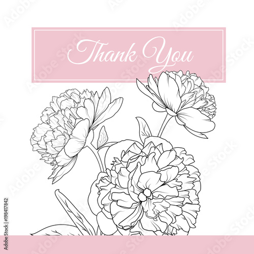 Peony rose spring flowers inflorescence bouquet composition peony rose spring flowers inflorescence bouquet composition detailed black white outline sketch drawing courtesy mightylinksfo