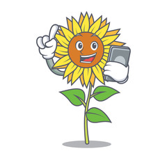 With phone sunflower character cartoon style
