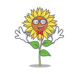 Geek sunflower character cartoon style