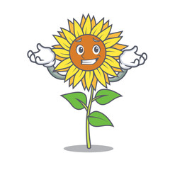Grinning sunflower character cartoon style