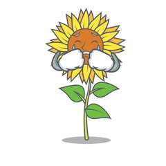 Crying sunflower mascot cartoon style
