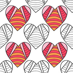 Hearts. Black and white decorative seamless pattern for coloring book. Romantic, lovely background.