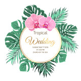 wedding event invitation card template exotic tropical jungle