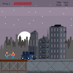 Foto auf Acrylglas Lavendel Pixelated urban videogame scenery for fight vector illustration graphic design