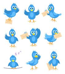 Set of blue bird mail delivery, vector illustration