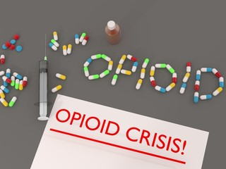 Opioids crisis words with pills.