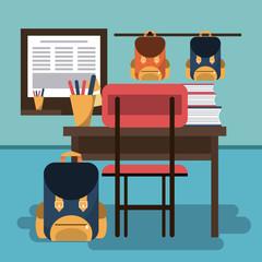 Empty classroom interior cartoon vector illustration graphic design