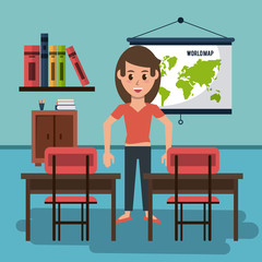 Young woman in classroom vector illustration graphic design