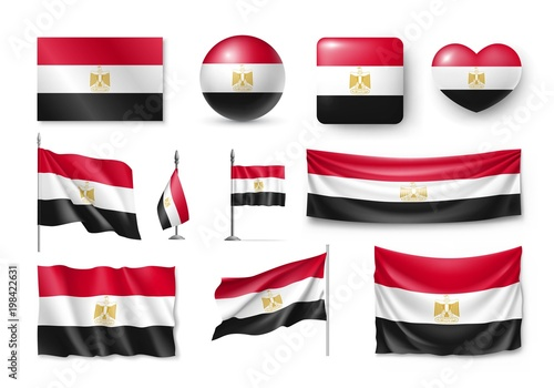 Set Egypt Flags Banners Banners Symbols Flat Icon Vector