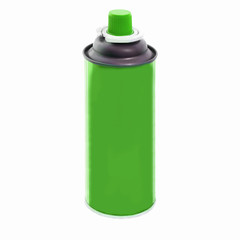 Spray green paint baloon isolated on white background