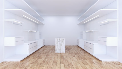 Modern minimalist  walk in closet with white wardrobe interior design,empty room ,wood floor and  white wall ,3d rendering