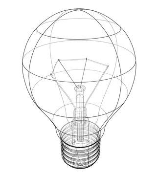 Outline light bulb. Vector