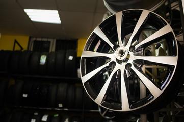 wheels disks in the car dealer