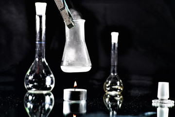 Chemical experiments in the laboratory and photo studio