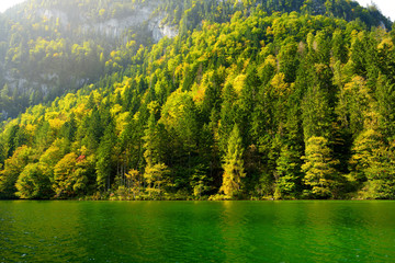 Fototapete - Stunning deep green waters of Konigssee, known as Germany's deepest and cleanest lake, located in the extreme southeast Berchtesgadener Land district of Bavaria.